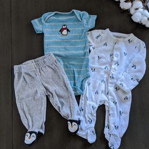 Carter's Newborn 3 Piece Penguin Sleep & Play wSet